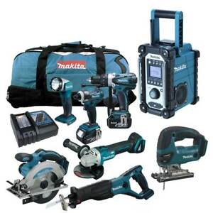 MAKITA-LXT-18V-12tlg-Akku-Werkzeug-Set-DGA504-Winkelschleifer-DJV180-RMJ