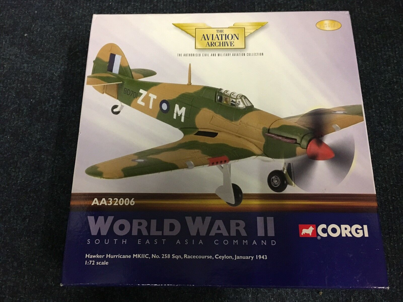 CORGI AA32006 Hawker Hurricane 258 ESC Ceylan 1945 Ltd Edition No 0002 de 2300