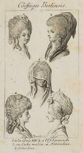 Chodowiecki (1726-1801). coeffures berlinoises, capelli di Berlino-e hutmoden 2