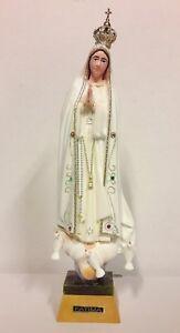 Statue-cm-25-Madonna-de-Fatima-en-Verre-Resine-et-Yeux-Peintures