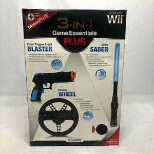 Wii 3 In 1 Game Essentials Plus Light Blaster Glow Saber Racing Wheel Black New