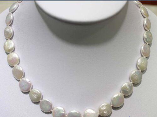 """17/"""" 11-12 mm Blanc Pièce de forme d/'eau douce collier de perles"""