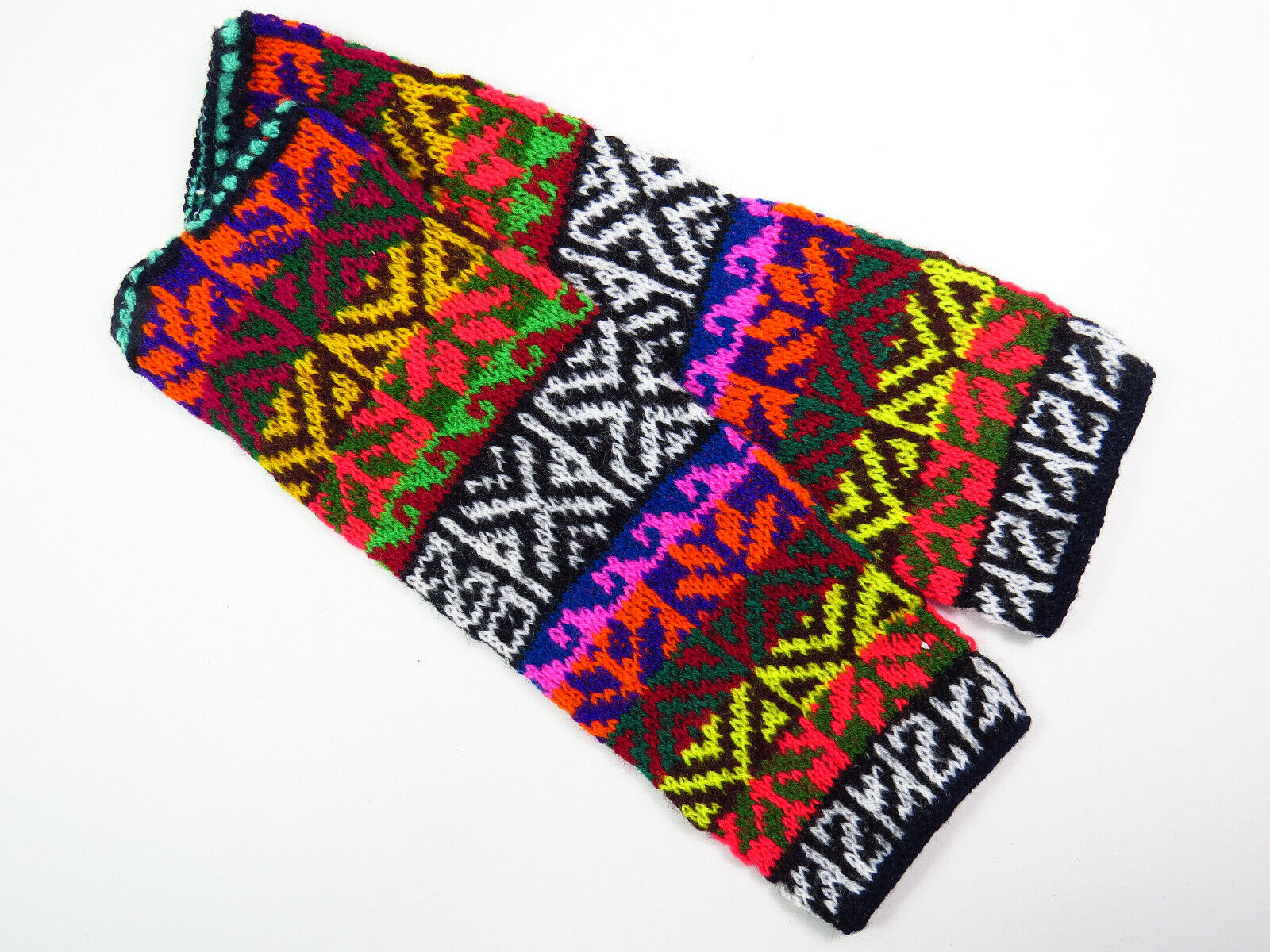 Bunte Arm Stulpen Handwärmer Ethno Inka Muster DAMEN handgeschtrick