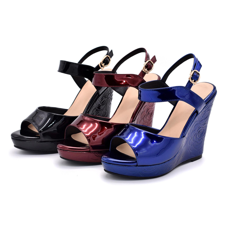 Mode Keilabsatz Sandale Damenschuhe Sommer Pumps Keilabsatz Schnalle Slingbacks