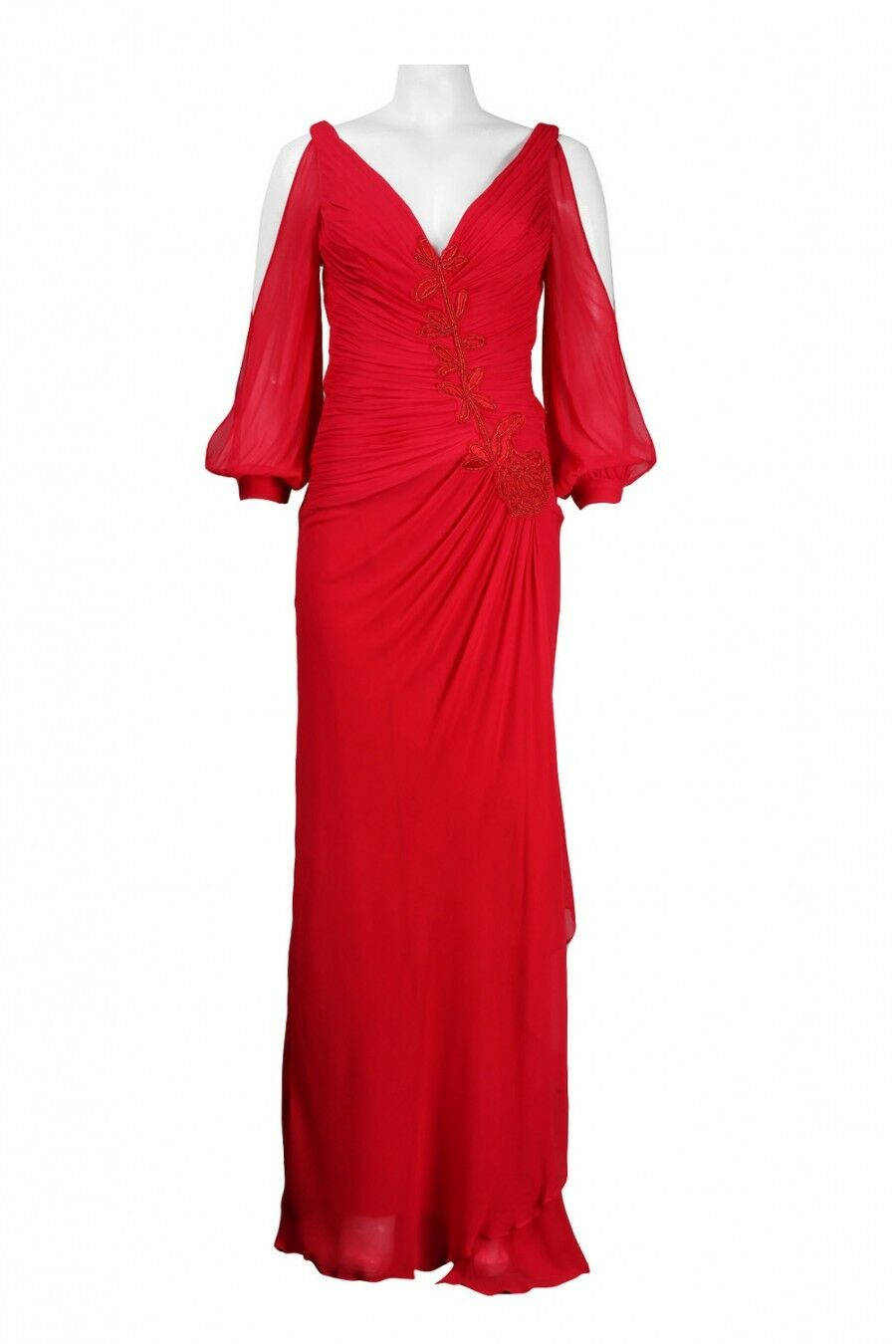 Nina Nina Nina Austin Size XS Women's Puff Slit Sleeve Red Dress Gown NWT NEW 62def8