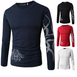 Graceful-Mens-Tattoo-Dragon-Print-Short-Long-Sleeve-Crew-Neck-Tee-T-Shirt-Tops
