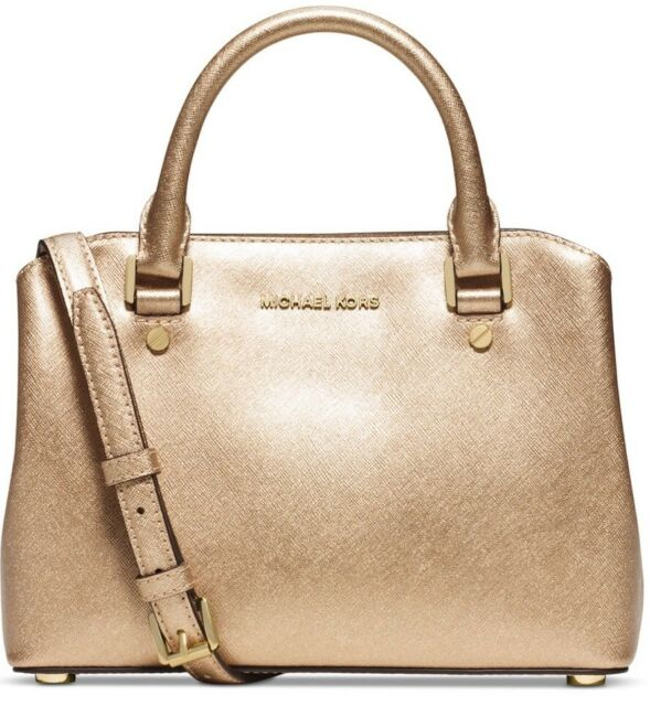 New Michael Kors Small Savannah Pale Gold Saffiano Leather Satchel Bag 298
