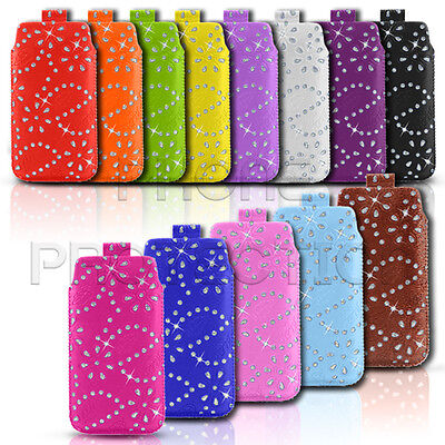 DIAMOND BLING LEATHER PULL TAB CASE COVER POUCH FITS VARIOUS SAMSUNG MOBILES