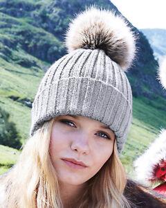 b58e91871f0 Pom pom Knitted beanie hat chunky ladies grey fuchsia pink red ...
