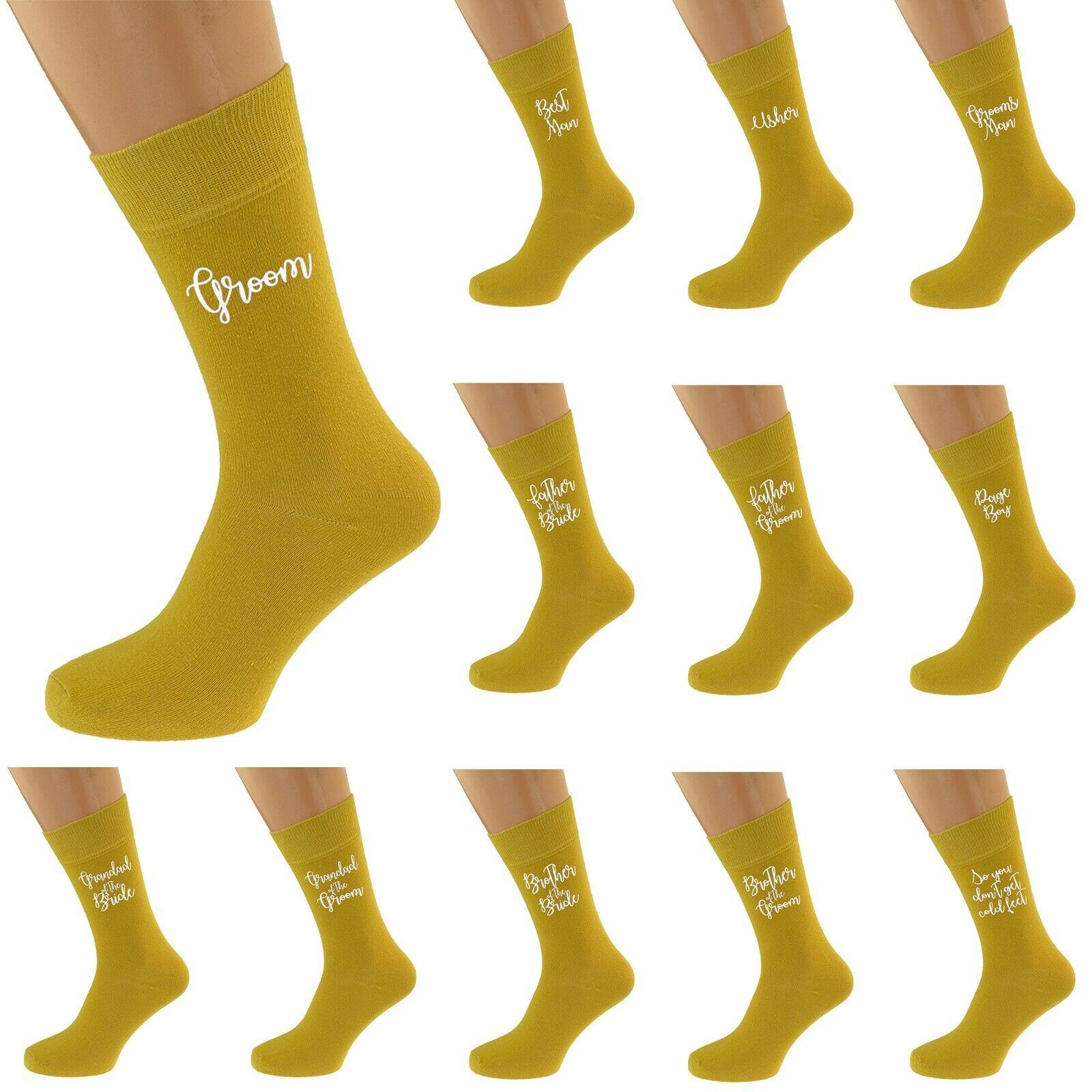 Mustard Wedding Script Design Socks UK Unisex 5-12 in Various Roles X6S239-N818