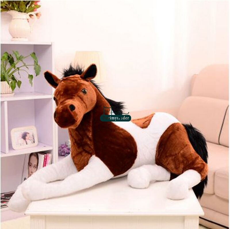 130cmX60cm Plush Soft Stuffed Horse Animal Toy Pillow Cushion Kids Ride On Gifts