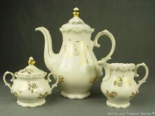 REICHENBACH schöner antiker Kaffeekern 3tlg florales Golddekor