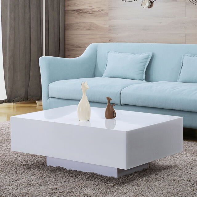 Modern High Gloss White Coffee Table Side End Living Room Furniture