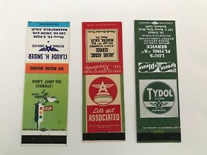 LOT OF 3 VINTAGE ORIGINAL 1940'S FLYING A CA MATCHBOOK COVERS