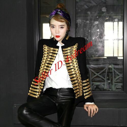 Ull Suits Coat Jacket Militær Women's Double Ensartet Sz Vintage Black Breasted Blend Tnqz5YwU