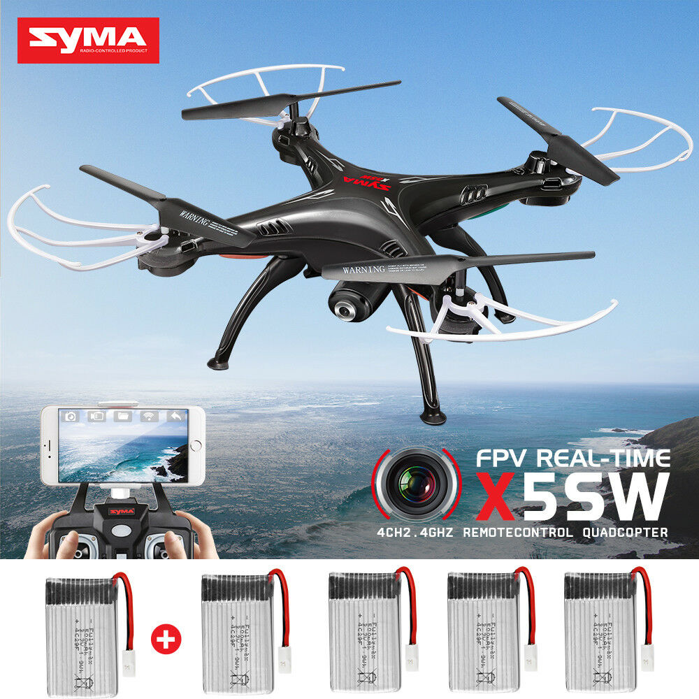 Syma X5SW Explorers 2.4Ghz 4CH RC Quadcopter FPV Drone Headless 5 Batteries Gift
