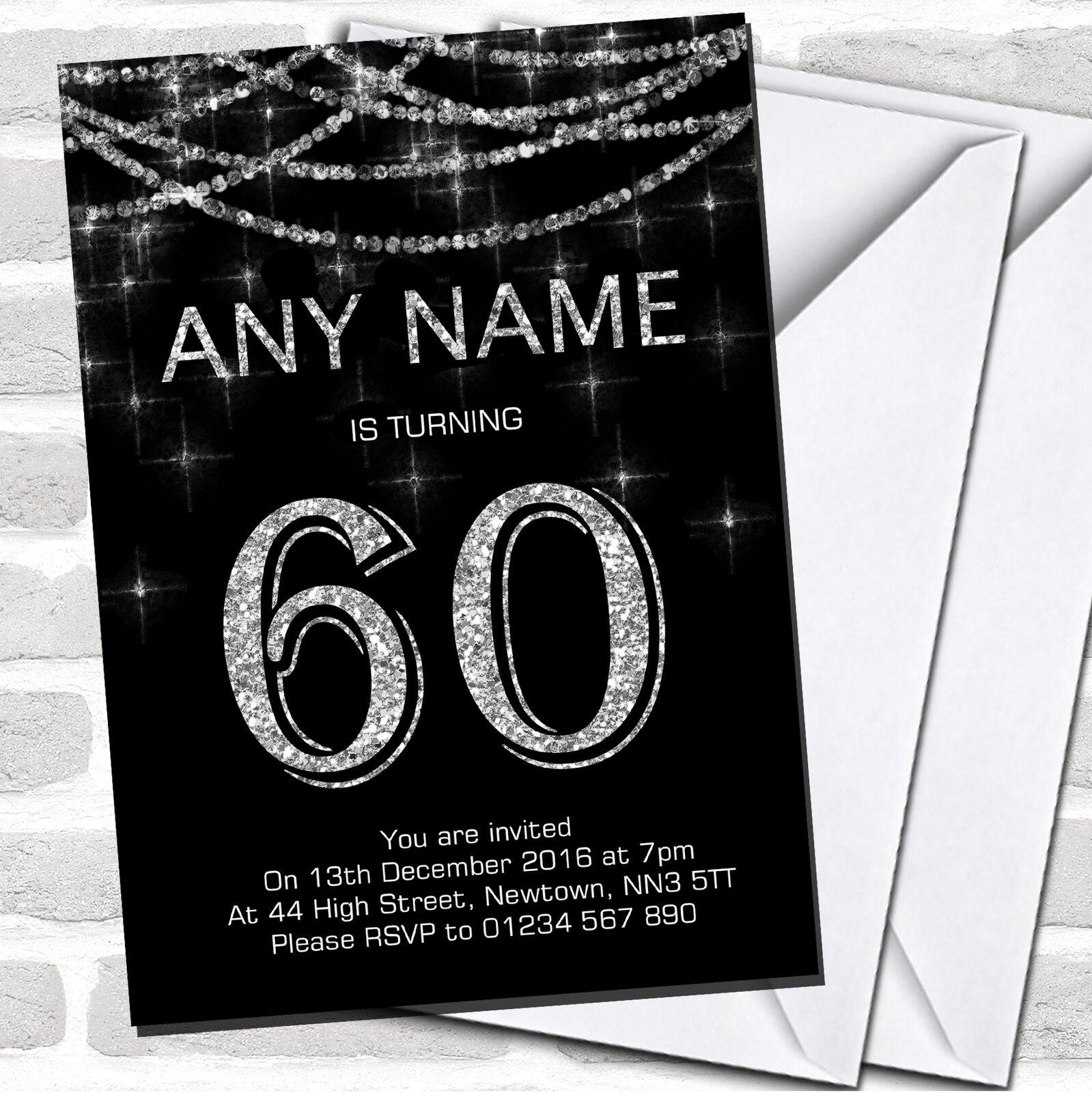 Negro y Plata Brillante Guirnalda 60th Fiesta de Cumpleaños Invitaciones