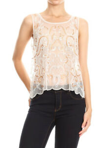31e53eee4d4048 Image is loading Fashion-Sexy-Womens-Sleeveless-Sheer-White-Embroidered-Lace -