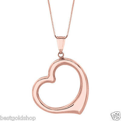 """Open Heart Charm Pendant Box Chain Necklace 14K SOLID Rose Pink Gold 16/"""" 18/"""" 20/"""""""