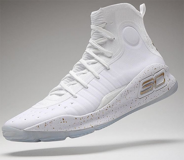 Under Armour Curry 4 White Gold LIMITED 1298306-102 More Rings all Size 2Y