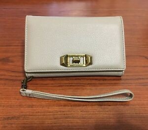 promo code 1a68b 0c835 Details about New Genuine Rebecca Minkoff Love Lock Gray Leather Wristlet  for iPhone X