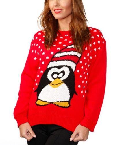 Damen Rote Langärmlig Pinguin Motiv Weihnachten Winter Pullover UK 12-14 Nwt