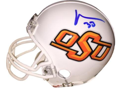 GTSM HOLOGRAM Vernand Morency signed Oklahoma State Cowboys Mini Helmet #33