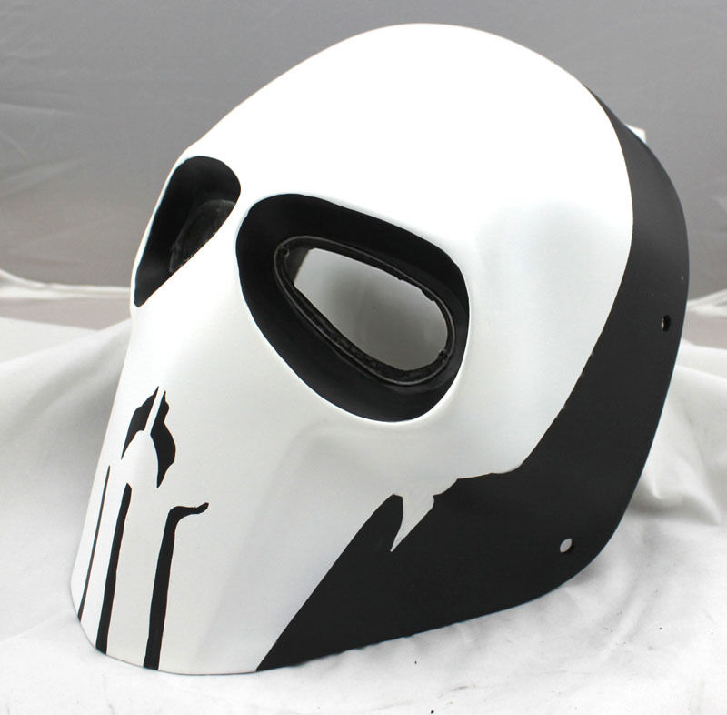 NEW COOL White Paintball CS Airsoft Full Face PC Lens Eye Predection Skull Mask