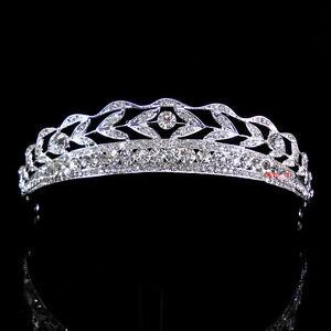 3cm-high-Leaf-Crystal-Wedding-Bridal-Bridesmaid-Prom-Pageant-Tiara