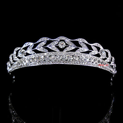 3cm high Leaf Crystal Wedding Bridal Bridesmaid Prom Pageant Tiara
