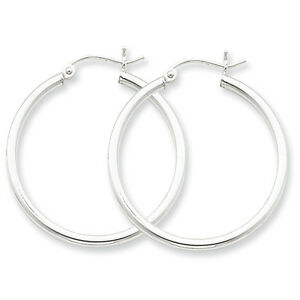 925-Sterling-Silver-Rhodium-Plated-2mm-x-30mm-Round-Polished-Hoop-Earrings