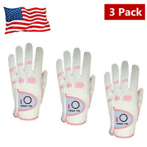 Golf-Gloves-Women-039-s-3-Pack-Rain-Grip-Ladies-Left-Right-Hand-White-With-Pink-USA