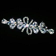 USA BARRETTE Hair Clip using Swarovski Crystal Hairpin Bridal Silver Clear 04