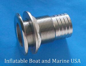 2x Stainless Steel Marine Barbed Boat Thru Hull Fitting Drain Hose Hardware