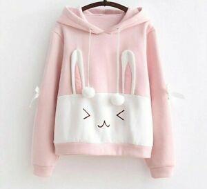 Details about Cute Kawaii Hoodies Women Clothing Sweatshirts Spring Pink White Cute Rabbit