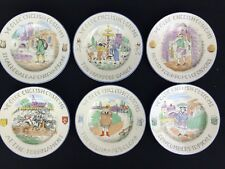 Vintage 1930s Olde English Customs Burgess And Leigh Plates Staffordshire Set 6