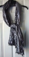 BRAND NEW GAP ELEVATED VISCOSE SILVER METALLIC FRINGE SCARF ONE SIZE GREY