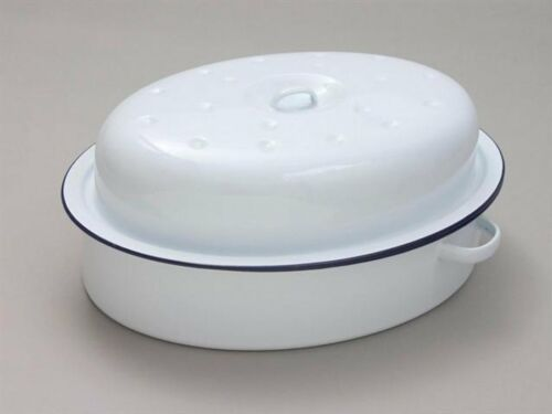 four Cookwear 30 cm Oval Roaster émail blanc