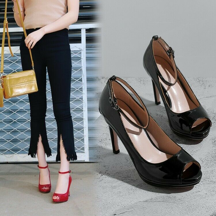 Fashion Women Ankle Strap Patent Leather High Heels Peep Toe Sandals Pumps shoes