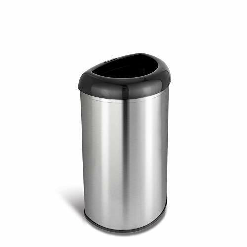 Elegant Open Top D Shape Stainless, Stainless Steel Bathroom Garbage Can