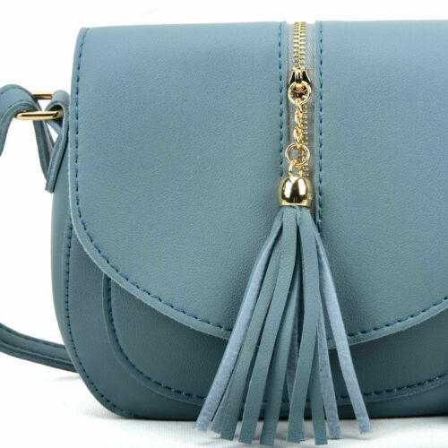 Ladies Cross Body Satchel Messenger Shoulder Bag With Tassel