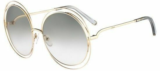 Genuine Chloe Carlina Ladies Round Gold Wire Frame Sunglasses CE 114 ...