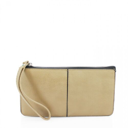 Women Girl Small Soft Leather Clutch Wristlet Purse Phone Card Slots New