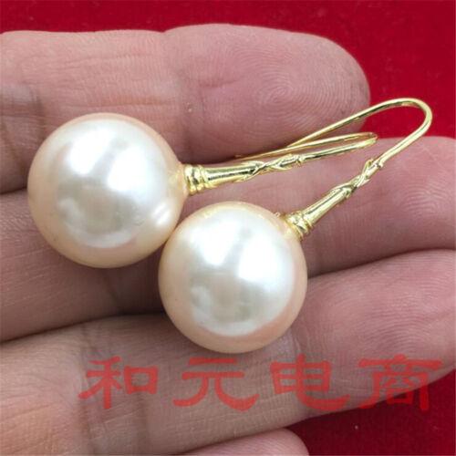 Noble RÉEL Grace Dangler 16 mm énorme Baroque coquille perle Boucles d/'oreilles 18K Placage Or