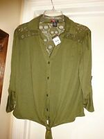 Lipstick Lipstick Ladies Olive Green Button Front Lace Back Xl 3/4 Sleeve Blouse