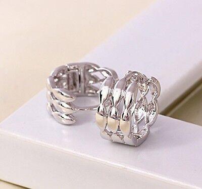Women's Earrings Charms 18k White Gold Filled silver Huggie Hoop Jewelry