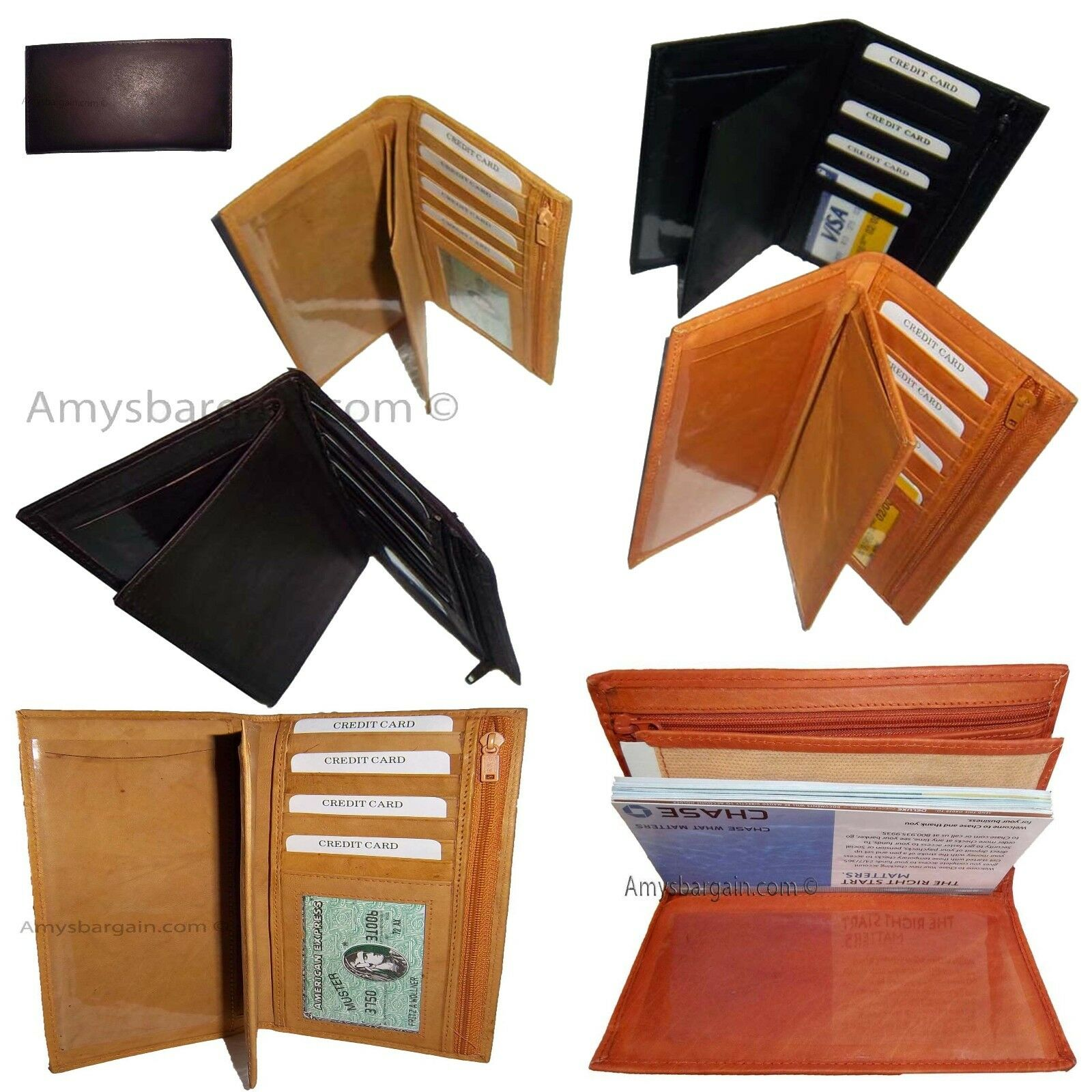 New women/men's Leather check book wallet checkbook vover credit cad carrier BN