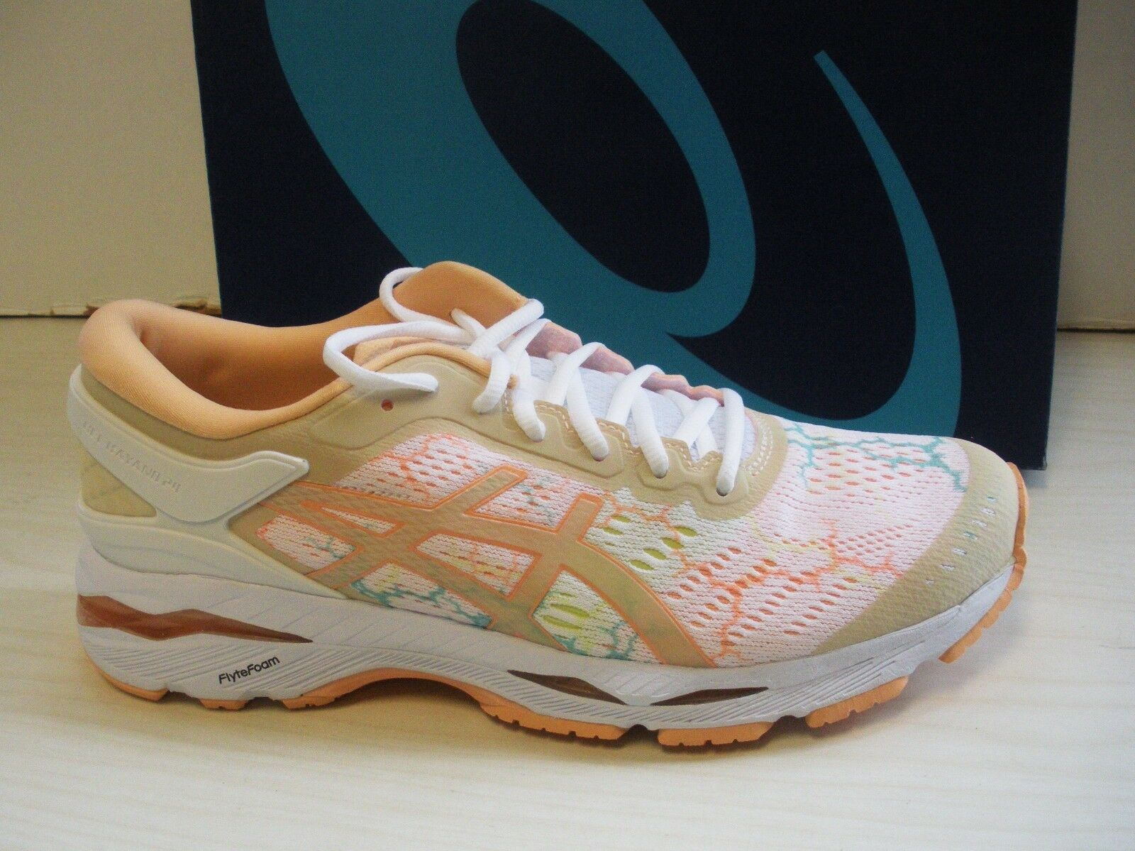 ASICS WOMENS GEL-KAYANO 24 LITE-SHOW RUNNING SNEAKERS-SHOES-T9A0M-0101-WHITE/APR Seasonal clearance sale