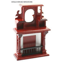 Ornate Mahogany Fireplace With Mirror. Doll House Miniature 1.12th Scale