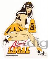 ALMOST LEGAL Cheerleader PINUP Schoolgirl Sticker/Decal